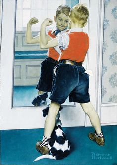 """""""The Muscleman,"""" Norman Rockwell, 1941. Oil on canvas. Collection of Pfizer, Inc. ©NRELC: Niles, IL. 