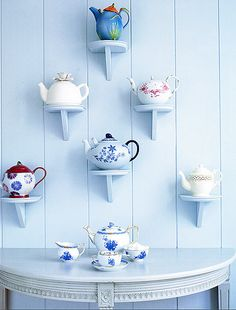 Shelves for my tea pots Tea Cup Display, Teapots And Cups, My Cup Of Tea, Displaying Collections, Chocolate Pots, Tea Time, Tea Party, Tea Cups, Coffee Cups
