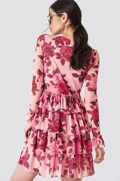 The Mesh Flounce Short Dress by NA-KD Boho features a sheer material, a round neckline, long sleeves, ruffle details at skirt and is lined. Sheer Material, Dusty Pink, Short Dresses, Mesh, Boho, Long Sleeve, Casual, Skirts, Sleeves