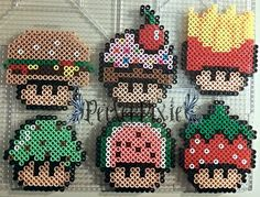 I started getting hungry after making so many of my perler projects that this somehow came to mind lol. The mushrooms are as follows. ~Hamburger ~Cupcake ~French Fries ~Ice Cream ~Watermelon ~Straw...