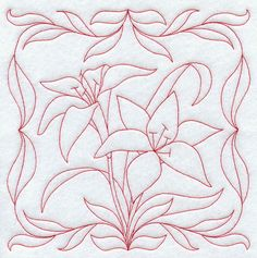 Tiger Lilies (Redwork)