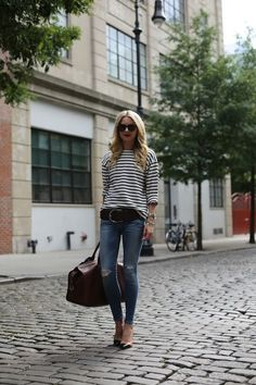Denim and Stripes.  Casual and Chic!