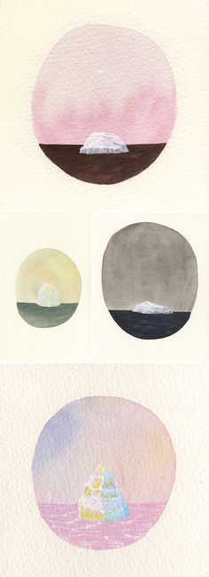 miniature watercolor icebergs, by rebecca chaperon