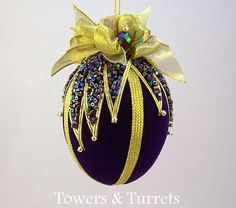 """Items similar to Towers & Turrets- """"Avalanche"""" -Blue Velvet Egg with Czech Glass Beads Handmade Christmas Ornament Vintage Style Victorian Inspired on Etsy Quilted Christmas Ornaments, Fabric Ornaments, Beaded Ornaments, Christmas Baubles, Handmade Christmas, Christmas Crafts, Christmas Decorations, Egg Crafts, Easter Crafts"""