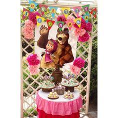 Mesa bolo Bear Birthday, 2nd Birthday Parties, Masha And The Bear, Handmade Invitations, Bear Party, Alice, First Birthdays, Party Time, Hello Kitty