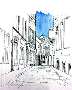 Ink and wash sketch of another of Whitby's lovely streets.