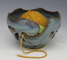 Garn Schüssel / stricken Bowl Rutil-blaue Glasur von toddpletcher