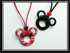 DIY Mickey Mouse Washer Necklaces -instead of wrapping with wire, my bf welded the smaller washers to the larger washer