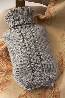 This classic turtleneck style cover for a hot water bottle is the perfect get well gift for a friend who needs some tender loving care. The stretchy rib opening keeps the sweater in place but also allows for easy removal.