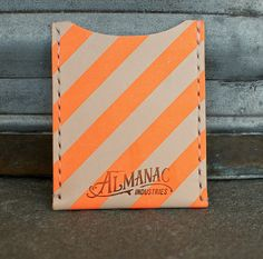 Leather Card Case / Wallet - Neon Orange. $35.00, via Etsy.