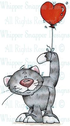 Kitty & Balloon - Cats - Animals - Rubber Stamps - Shop