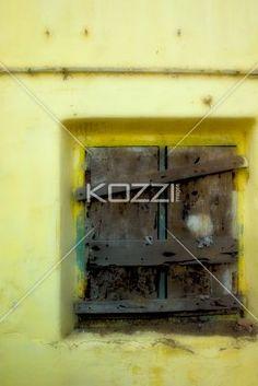 boarded up window - A boarded up window in Kochi, India.