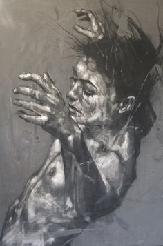 guy denning- social dysfunction celebrated as ritual: canvas drawn up prior to painting (detail)