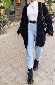 Baggy Cardigan Coat - Looks - - Ski -Winter Baggy Cardigan Coat - Looks - - Ski - Winter outfits with dr martens Fashion Leopard Print Long Sleeve Coat – Ratecuteshop Womens simple casual lapel coat - Elegant faux fur coat Winter Fashion Outfits, Look Fashion, Fasion, Womens Fashion, Casual Outfits For Winter, Cold Weather Outfits Casual, Winter Outfits 2019, Grunge Winter Outfits, Black Jeans Outfit Winter