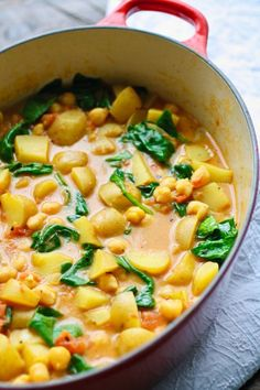 You'll love the aromas and flavors that come along with Potato, Chickpea, and Spinach Curry. Not only that, but it's so easy to make, and perfect as a Meatless Monday (and vegan) meal. Prep time comes and goes quickly — then all you have to do is sit back and wait for the meal to simmer.