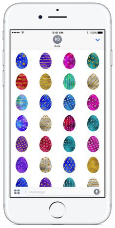 """Easter Eggs sticker pack available on the App Store. Featured by AppAdvice in """"Best Holiday iMessage Stickers"""" Collection. #eastereggs #easter #stickerpacks #stickers"""