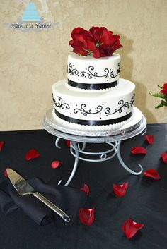 2 tiered monogram red white black butter cream wedding cake   rounds white cake with buttercream icing two half sheet cakes ...