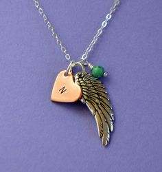 Silver Wing and Copper Heart Initial Charm Necklace by SeaSaltShop, $24.00