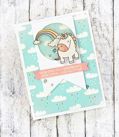RL Design - Invitatii si felicitari Handmade : Rainbows, Unicorns and Glitter - MFT Handmade Card