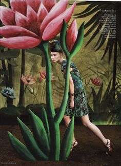 Backdrops & cutouts for Matthew Williamson feature in 'Vogue' by Timna Woollard Studio, Photography Yelena Yemchuk Fashion Photography Inspiration, Photoshoot Inspiration, Flower Collage, Collage Art, Henri Rousseau, Contemporary Photographers, Tropical, Fashion Pictures, Art Direction