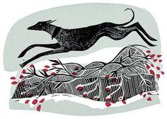 Winter Whippet by Angela Harding, illustration, editorial, print, design, dog, pet, nature, winter, etching, monoprint, printmaking, texture