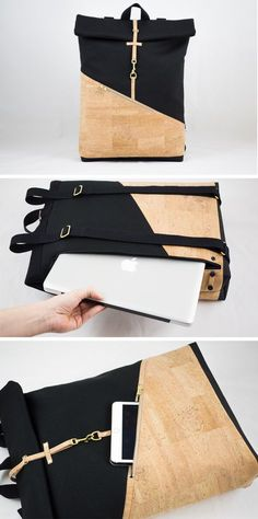 Rolltop backpack made of cork with laptop compartment. Ideal for work and leisure / Rolltop backpack with built-in laptop compartement made by NOAS_Berlin via … - All About Mochila Tote, Mochila Jeans, Diy Backpack, Rucksack Backpack, Mini Messenger Bag, Backpack Pattern, Fabric Bags, Leather Accessories, Handmade Bags