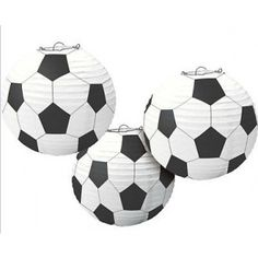 Illuminate your soccer themed party with these hanging soccer ball lanterns!