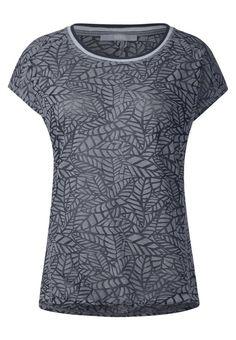 Cecil. T-Shirt print - deep blue. Passform:normal. Material Oberstoff:59% Polyester, 41% Baumwolle. Ausschnitt:Rundhals. Gesamtlänge:64 cm bei Größe XS. Pflegehinweise:nicht Trockner geeignet,Maschinenwäsche bei 30°C,Schonwaschgang...