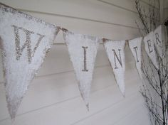 WINTER...Tarnished Silver Glittered Burlap Banner by funkyshique