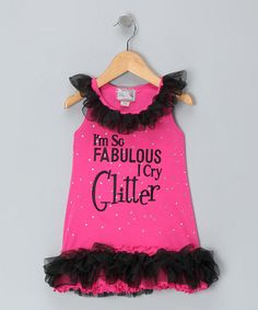 Take a look at this Pink 'Cry Glitter' Dress - Infant, Toddler & Girls  by Born 4 Couture on #zulily today!