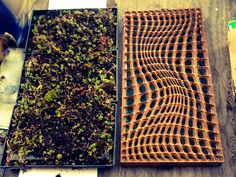 CNC milled panel for Green Screen V1 with vegetated wall backing for Sedum and mosses, by: MLZDESIGN