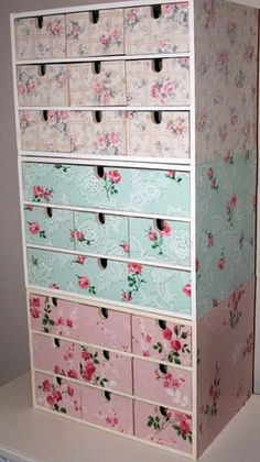 Ikea Fira Boxes covered w/Vintage Wallpaper