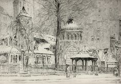 Childe Hassam.  The Little Church Around the Corner. 1923.  Etching.