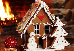 Gingerbread House and other gingerbread shapes with instructions and recipe.