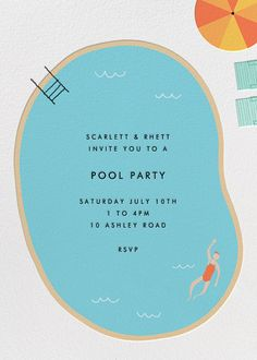 Genius website for postcards and invitations :D Maude's Pool - Paperless Post Poster Design, Flyer Design, Print Design, Layout Design, Typography Design, Branding Design, Pool Party Invitations, Invitation Ideas, Shower Invitations