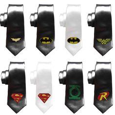 Justice League Ties, Geek Wedding ties, Grooms Comicbook superheroes skinny tie, batman tie, wonderwoman, superman, robin, green lantern