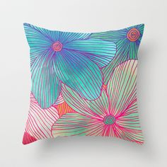 Between the Lines - tropical flowers in pink, orange, blue & mint Throw Pillow
