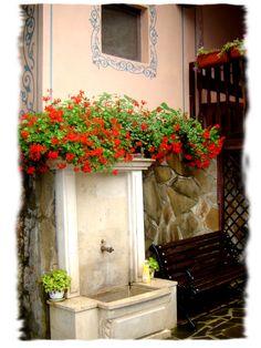 Typical Bulgarian garden stone sink, Fontaine de jardin, Garden fountain. Saints Constantine and Helena Monastery, 11 kilometres north of Varna, Bulgaria.