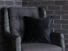 Velvet Pillows, Throw Pillows, Initial Cushions, Plain Cushions, Velvet Material, Pillow Inserts, Cover, Black, Etsy