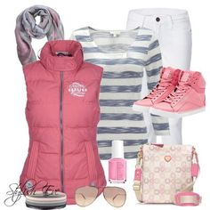 Striped shirt with pink vest and pink shoes! Cute outfit for school/class. (Stylish Eve)