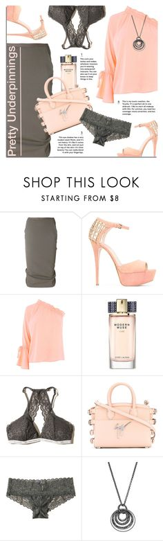 """The Prettiest Underpinnings"" by xiandrina ❤ liked on Polyvore featuring Rick Owens, Elie Saab, Warehouse, Estée Lauder, Hollister Co., Giuseppe Zanotti, Apt. 9 and prettyunderpinnings"