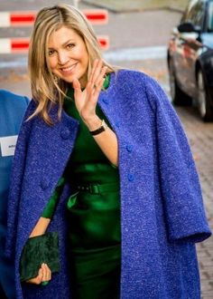 Queen Maxima wearing a Natan designed ensemble -- love the jade green and bright blue. #Royal