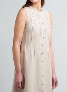 Linen Pin tucks Sleeveless Dress Riva Fashion, Frock Fashion, Fashion Outfits, Kurta Designs, Blouse Designs, Tuck Dress, Fancy Kurti, Kurti Embroidery Design, Kurta Neck Design