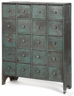 Painted pine apothecary cabinet, late 19th c., 46'' h.