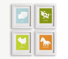Farmer In The Dell - Set of Four 5x7 Farm Animal Prints - Baby's Nursery Decor, Wall Art, Children's Wall Art, Playroom Decor, Educational. $39.95, via Etsy.
