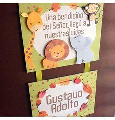 Los animalitos de la Selva de Gustavo Adolfo, tiernos y sonrientes le dieron la bienvenida! #doordecor #itsaboy #babysname #nombre #puerta #clinica #celebrabonito