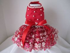 Dog Dress XS  Red  with embroidery lace   By by NinasCoutureCloset, $50.00