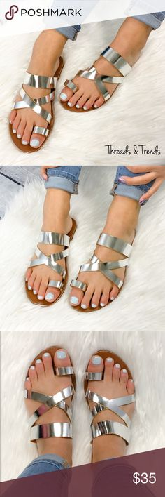 🌸🆕 Metallic Silver Sandals Classic go to metallic silver strappy sandal. Perfect for casual or dressy look. Pair with maxi dresses or any casual spring summer look. Easy metallic silver color to match anything. Threads & Trends Shoes Sandals