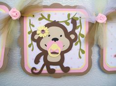 Monkey baby shower banner its a girl in by NancysBannerBoutique, $28.00