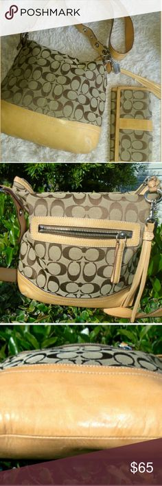 """SET Coach #E05K'9362 CANVAS slim duffle cross body SET COACH #E05K-9362 CANVAS SIGNATURE WITH TAN LEATHER Trim slim duffle adjustable cross body bag Coach Wallet. Silvertone hardware, top zipper closure. Dark brown interior lining. Preowned has red mark as seen in last picture. Very clean In and out. L 10.5"""" W 3"""" H/D 11"""" Strap drop 23"""" Coach Bags Crossbody Bags"""